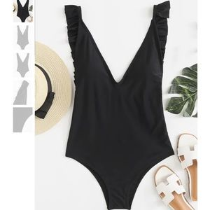 NWT Ruffle Plunging Backless One-piece